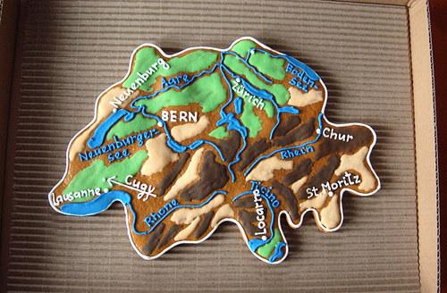 Perníková mapa Švýcarska
