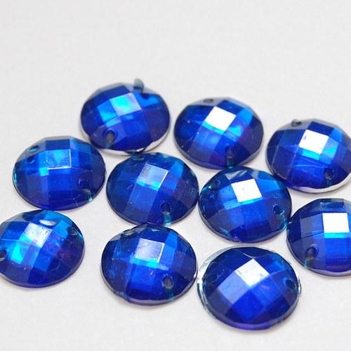 Našívací kamínek Kulatá kobaltová modrá 10ks NK-77