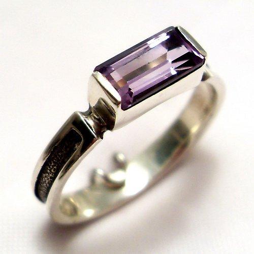 Prsten «Rámeček» - Ag 925/1000, přírodní ametyst