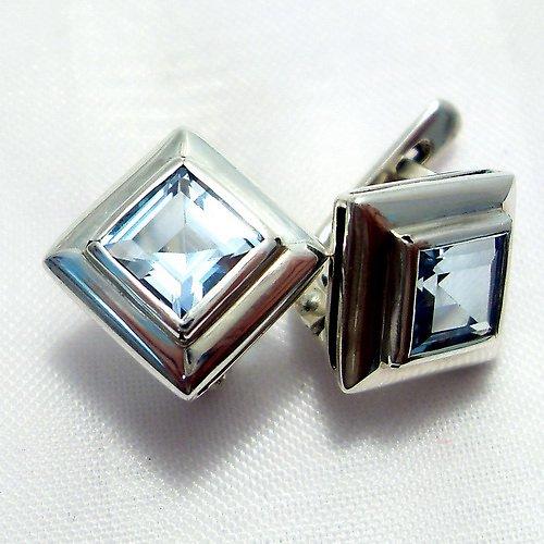 Náušnice «Okínko» - stříbro 925/1000, modrý topaz