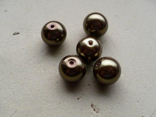 voskované perly bronzové 12mm - 5ks