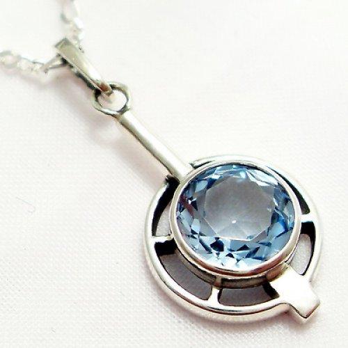 Přívěsek «Košík» - stříbro 925, modrý topaz