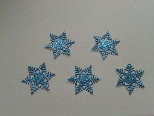 Malé vločky - modré třpytivé