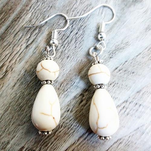 náušnice s přírodními kameny - bílý tyrkys