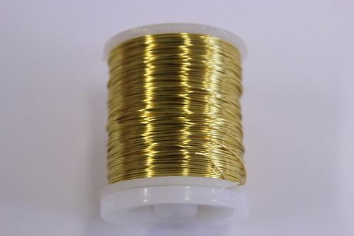 Měděný drátek 0,5mm - zlatý, návin 19-21m
