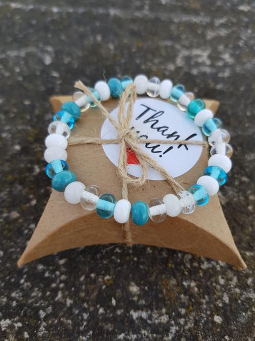 Náramek z vinutých perel - tyrkys
