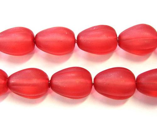 0300940/Vroubkovaná kapička červená matná, 10 ks