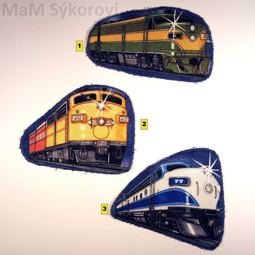 Nažehlovací záplaty barevné lokomotivy č.1,2