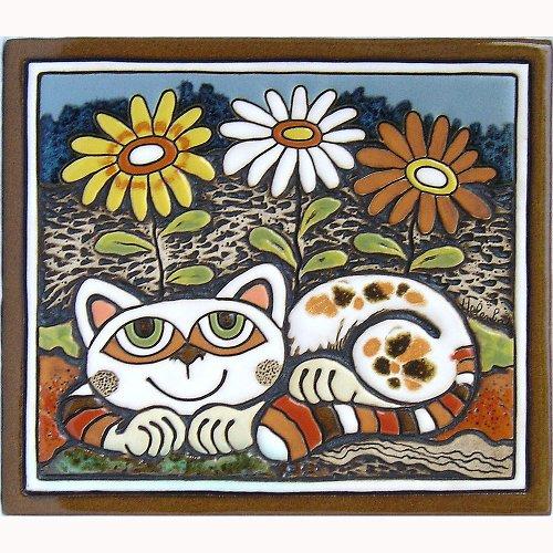 Keramický obrázek - Kočka a kopretiny K-123-N