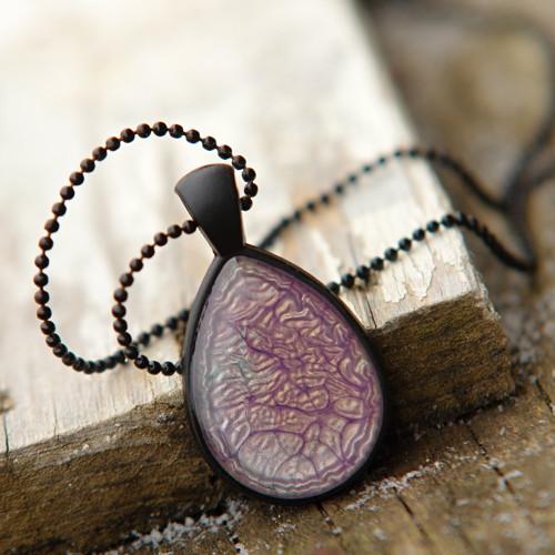 Lila kapka - náhrdelník