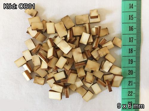 Obdélníkové tvary 9 x 6 mm - cena za 10 ks