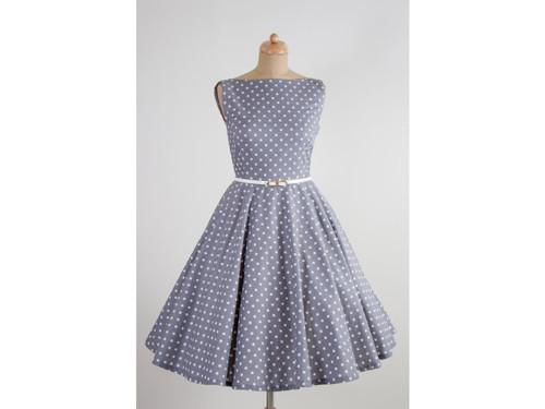 retro šaty susan šedé s puntíkem · Mia Bella 736308e54de
