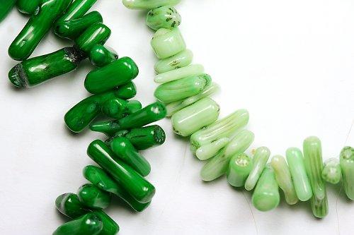 Korály - tmavě zelené tyčky, 5 cm
