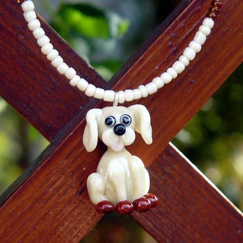 Náhrdelník pes - slonová kost - vinutá perle