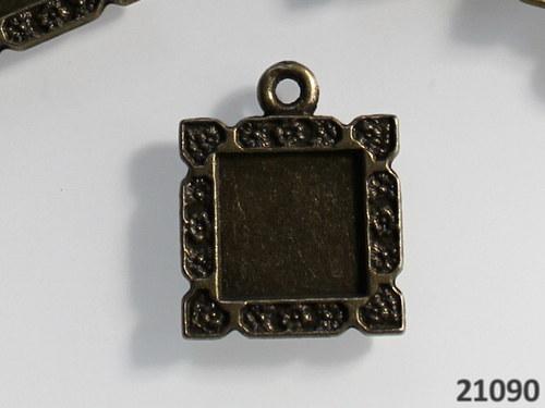 21090 Bižu lůžko čtverec okrasné BRONZ 23/18,á 1ks
