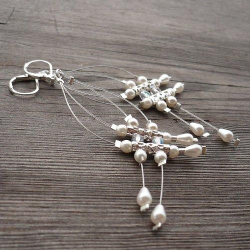 Bílé dešťové náhrdelníčky do oušek II.menší