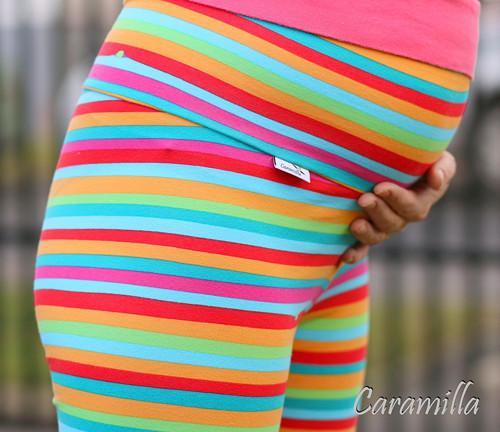 Těhotenské leginy PROUŽKY HLADKÉ BIOBAVLNA