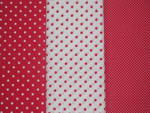 Dekorační látka metráž puntíky červené