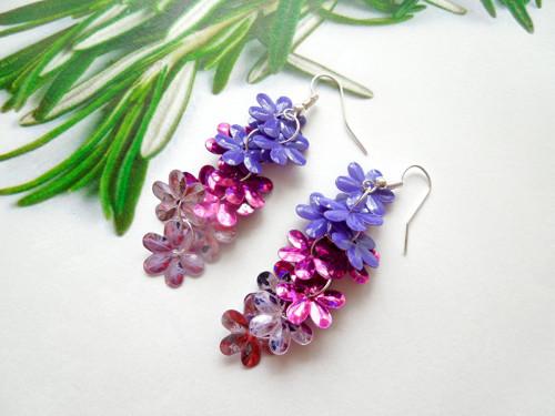 Růžovo-fialové náušnice