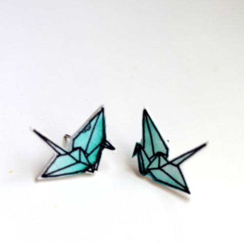 Náušnice: Origami jeřábi akvarel smaragdoví