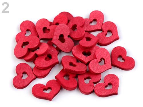 Dřevěné srdce 17x20 mm - červená (12ks)