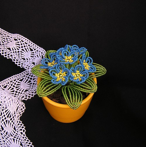 Petrklíče z korálků - modré