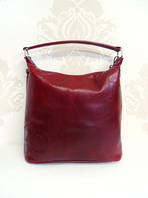 Bordová kožená kabelka Maťka s kvetom