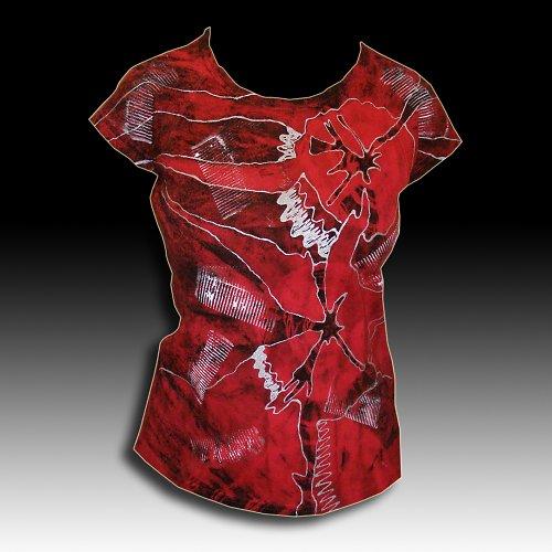 """Dám. tričko \""""Červená a černá\"""" /ve vel. na přání"""