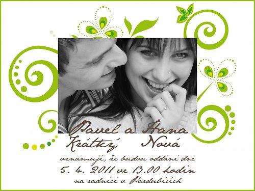 Svatební oznámení - Foto zelená