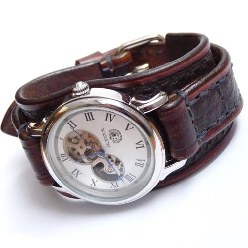 Hnědé pánské hodinky, vintage hodinky, mechanické