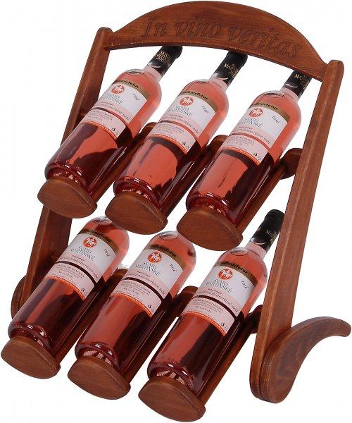 Dřevěný stojan na 6 lahví vína