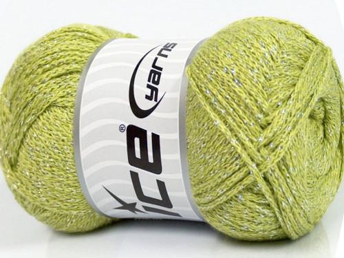 Metallic Viscose Silver Green Ice Yarns 100g