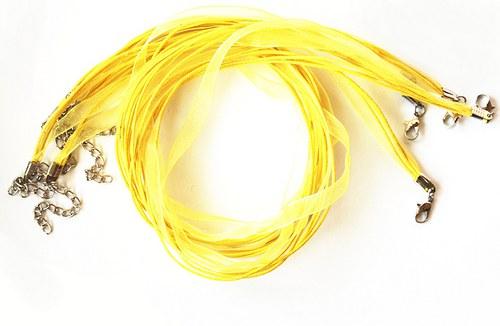 Náhrdelník - organza stuha žlutá