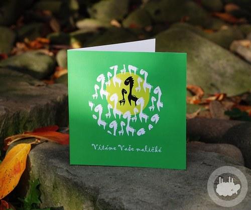 K narození dítěte - zvířátci - tmavší zelená