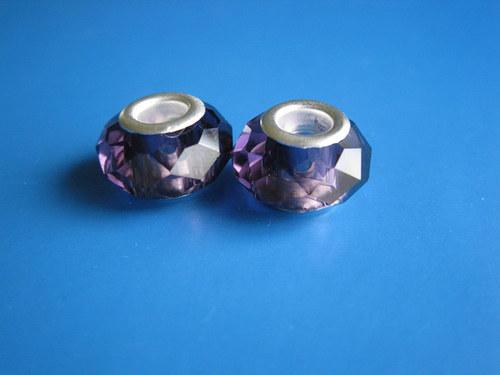 Broušené korálky 2ks -fialova