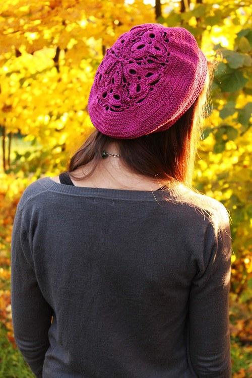 Tmavě růžový baret