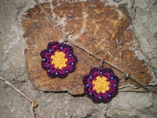 HÁČKOVANÉ NÁUŠNIČKY - letní fialové