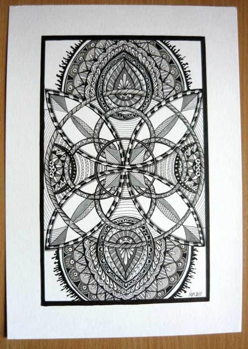 Kruhy - zentangle A4, autorská kresba