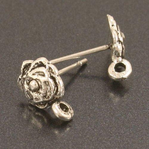 Náušnicové puzety zdobené - růže, 1 pár
