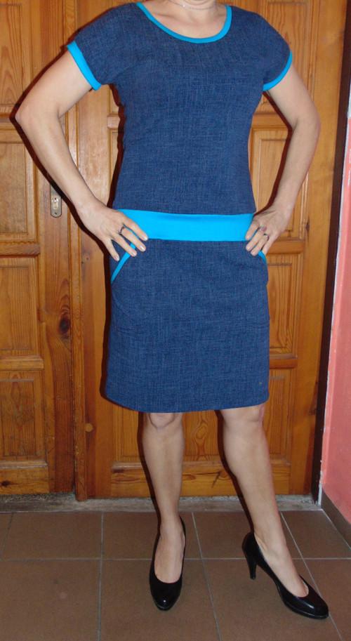 šaty Jeans s tyrkysem