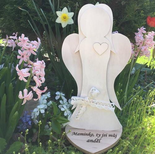 Dřevěný anděl bílý Maminka anděl