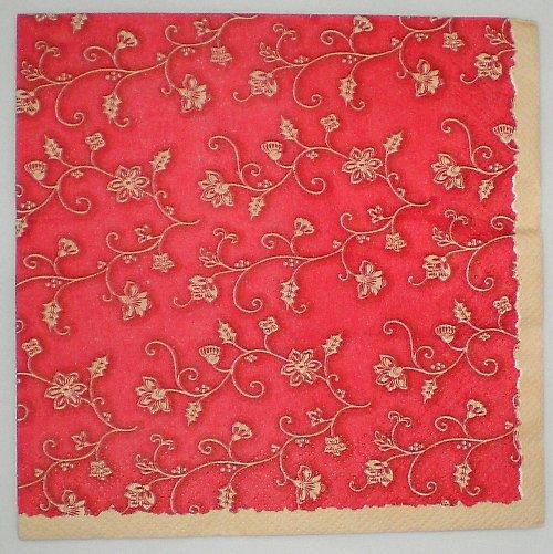 Ubrousek červený s květinami UB015