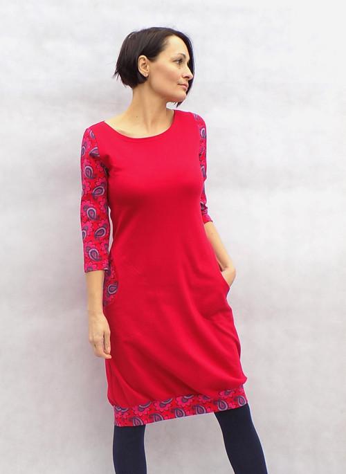 Červené šaty + vzor...vel.S   Zboží prodejce LaPanika  e9536240980