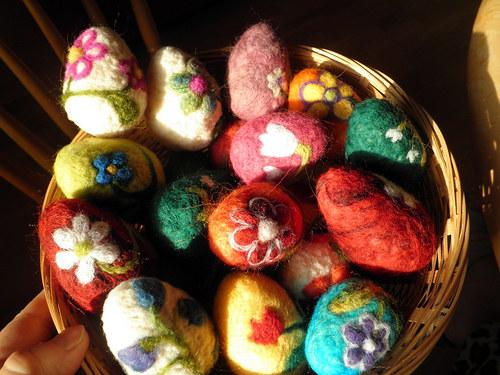 Velikonoční kraslice z ovčího rouna