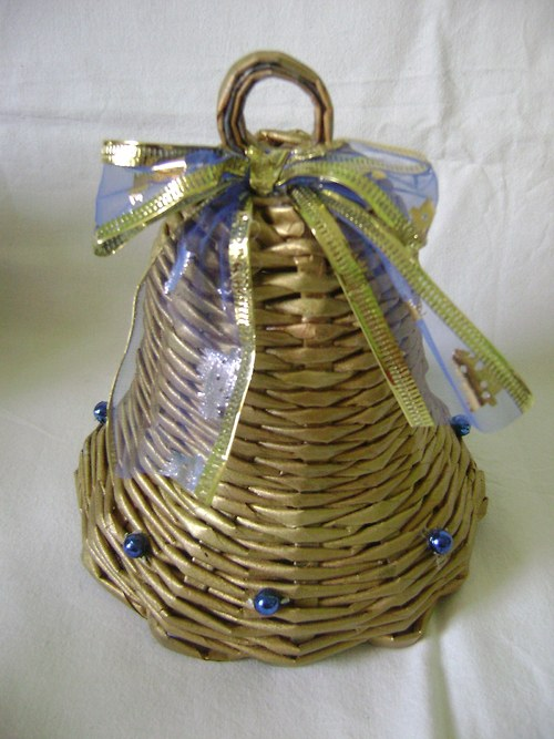 Zvonek zlatý s modrou mašlí
