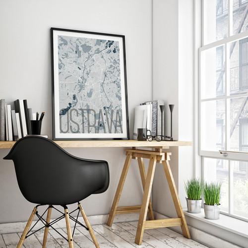 OSTRAVA, 50x70cm, elegantní, světle modrá