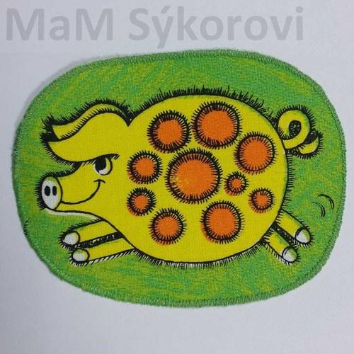 Nažehlovací záplaty žluté prasátko SLEVA!