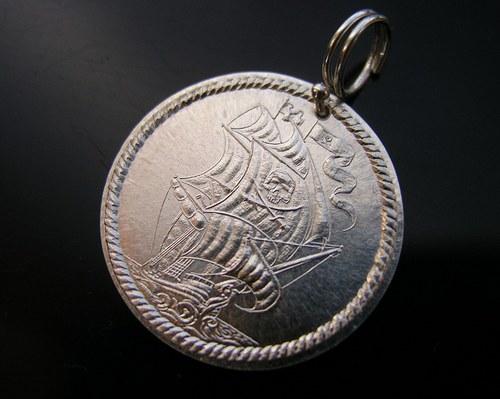 Pirátská mince na krk Ag 925/1000
