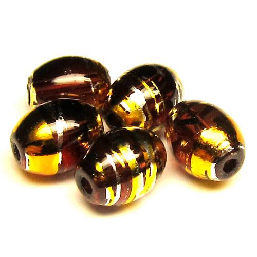 Sklo kovově žíhané - ovál malý - 5 ks