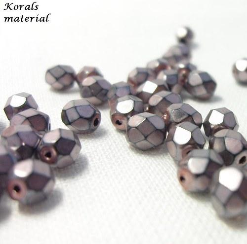 2216 Korálky BROUŠENÉ 6 mm, fialové, 25 ks